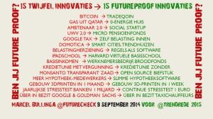 Futurecheck infographic: 15 twijfelinnovaties en 15 futureproof Innovaties.